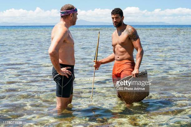 Don't Bite the Hand That Feeds You Dan Spilo and Aaron Meredith on the Fifth episode of SURVIVOR Island of Idols airing Wednesday Oct 23rd on the CBS...