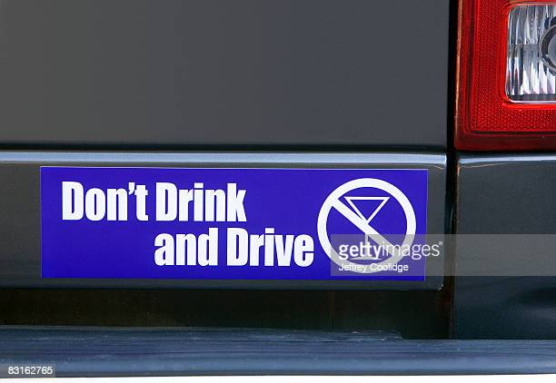 don't drink bumper sticker on car - bumper sticker stock photos and pictures