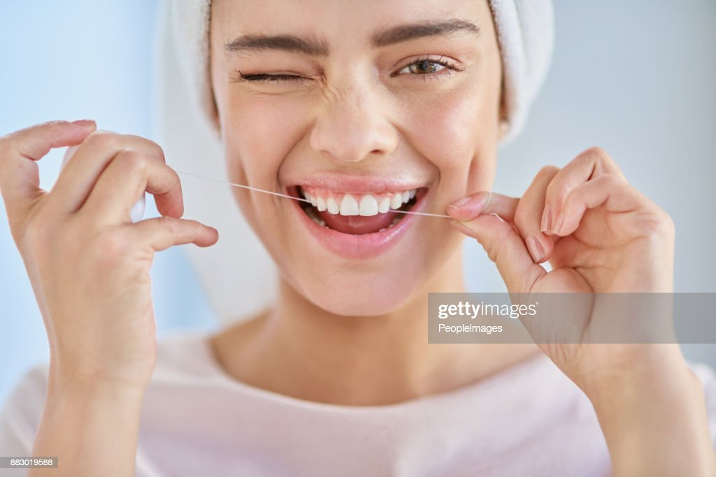 Don't forget to floss : Stock Photo