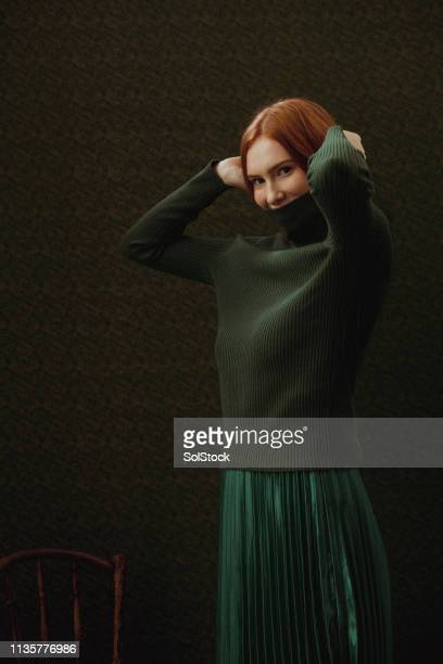i don't let society dress me - green skirt stock pictures, royalty-free photos & images