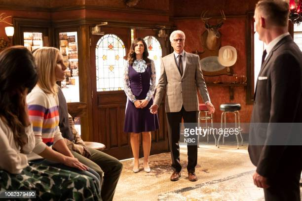 "Don't Let the Good Life Pass You By"" Episode 309 -- Pictured: Kristen Bell as Eleanor Shellstrop, D'Arcy Carden as Janet, Ted Danson as Michael, Marc..."