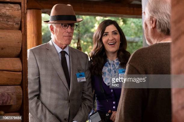 "Don't Let the Good Life Pass You By"" Episode 309 -- Pictured: Ted Danson as Michael, D?Arcy Carden as Janet, Michael McKean as Doug --"