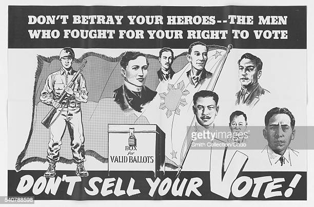 Don't Sell Your Vote a poster encouraging voters not to sell their votes during an election in the Philippines 1953 Image courtesy National Archives