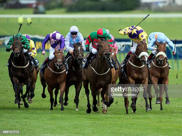 Don't Touch 3rd right Red and Green silks ridden by Tony Hamilton leads the field in the William Hill Ayr Gold Cup on September 19 2015 in Ayr...
