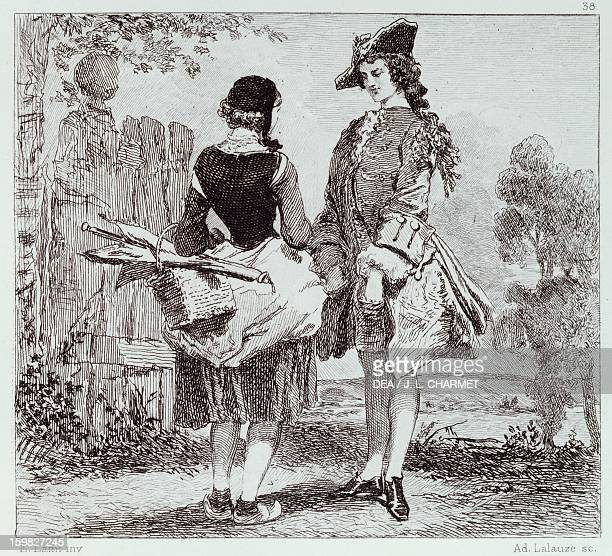 Don't trifle with love engraving by Adolphe Lalauze for the play by Alfred de Musset