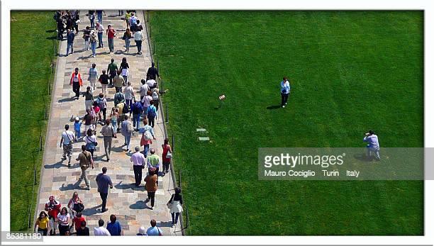 don't walk on the grass - pisa stockfoto's en -beelden