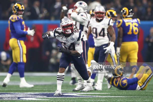 Dont'a Hightower of the New England Patriots celebrates a sack against Jared Goff of the Los Angeles Rams in the third quarter during Super Bowl LIII...