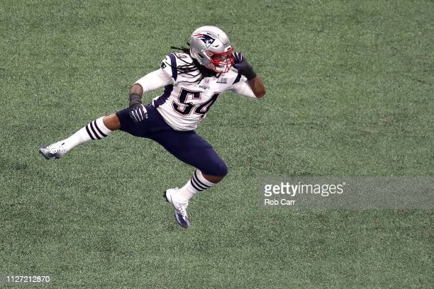 Dont'a Hightower of the New England Patriots celebrates a third quarter sack against the Los Angeles Rams performs during the Pepsi Super Bowl LIII...