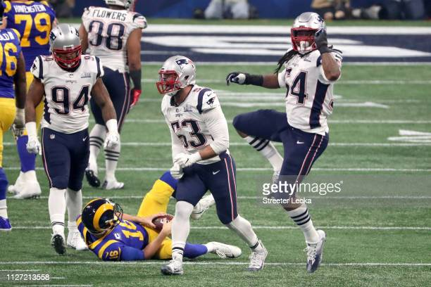 Dont'a Hightower of the New England Patriots celebrates a third quarter sack against Jared Goff of the Los Angeles Rams during Super Bowl LIII at...