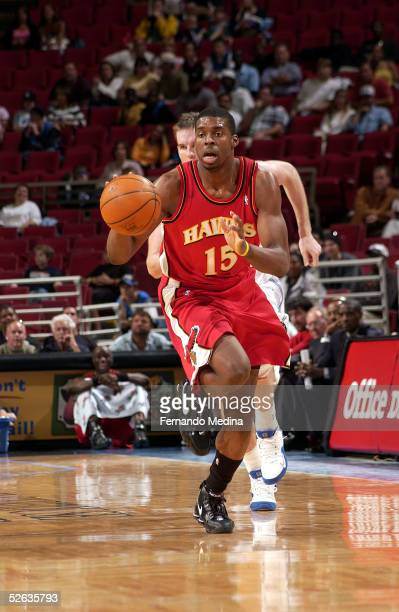 Donta Smith of the Atlanta Hawks drives downcourt against the Orlando Magic March 28 2005 at TD Waterhouse Centre in Orlando Florida The Magic won...