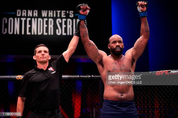 DonTale Mayes reacts after defeating Ricardo Prasel of Brazil in their heavyweight bout during Dana White's Contender Series at the UFC Apex on July...