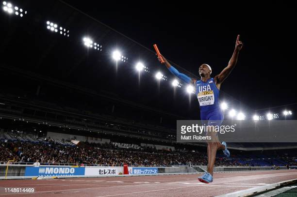 Dontavius Wright of USA celebrates during the Mixed 4x400m Relay Final on day two of the IAAF World Relays at Nissan Stadium on May 12 2019 in...