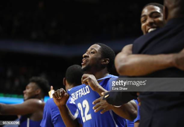 Dontay Caruthers of the Buffalo Bulls celebrates defeating the Arizona Wildcats 8968 during the first round of the 2018 NCAA Men's Basketball...