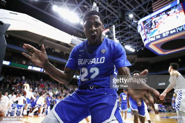 Dontay Caruthers of the Buffalo Bulls reacts during the second half against the Kentucky Wildcats in the second round of the 2018 NCAA Men's...