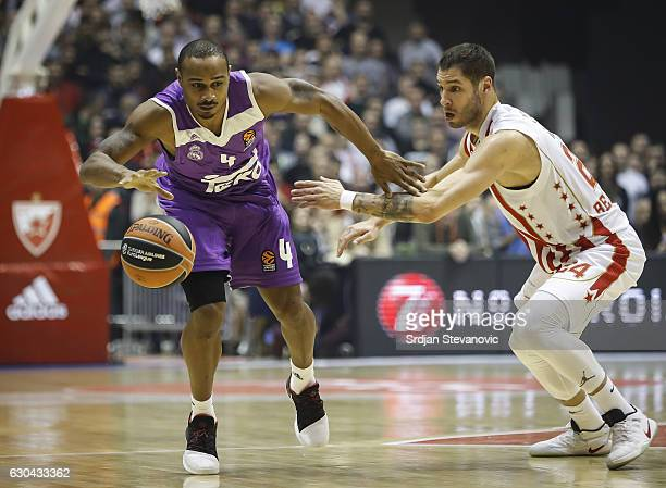 Dontaye Draper of Real Madrid in action against Stefan Jovic of Crvena Zvezda during the 2016/2017 Turkish Airlines EuroLeague Regular Season Round...