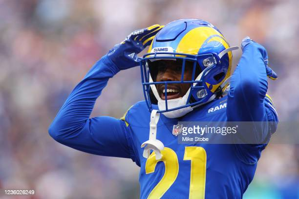 Donte' Deayon of the Los Angeles Rams in action against the New York Giants at MetLife Stadium on October 17, 2021 in East Rutherford, New Jersey....