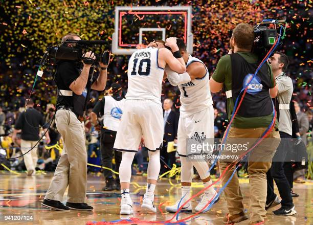 Donte DiVincenzo and Jalen Brunson of the Villanova Wildcats embrace each pother after the 2018 NCAA Photos via Getty Images Men's Final Four...