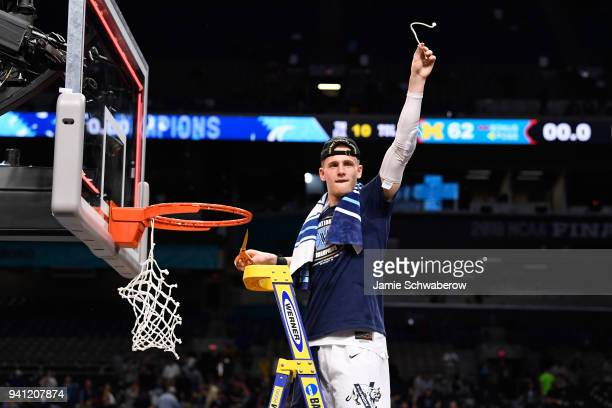 Donte DiVincenzo of the Villanova Wildcats celebrates after the 2018 NCAA Photos via Getty Images Men's Final Four National Championship game against...