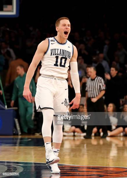 Donte DiVincenzo of the Villanova Wildcats celebrates the win at the buzzer during the championship game of the Big East Basketball Tournament at...