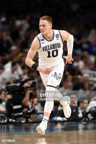 Donte DiVincenzo of the Villanova Wildcats reacts after a shot in the second half against the Michigan Wolverines during the 2018 NCAA Men's Final...