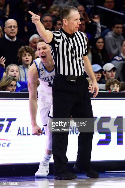 Donte DiVincenzo of the Villanova Wildcats reacts after foul and a turnover against the Seton Hall Pirates during the second half at the Wells Fargo...