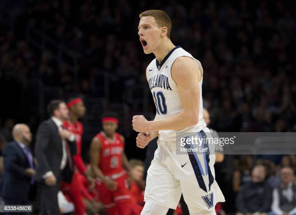 Donte DiVincenzo of the Villanova Wildcats reacts against the St John's Red Storm in the first half at the Wells Fargo Center on February 4 2017 in...