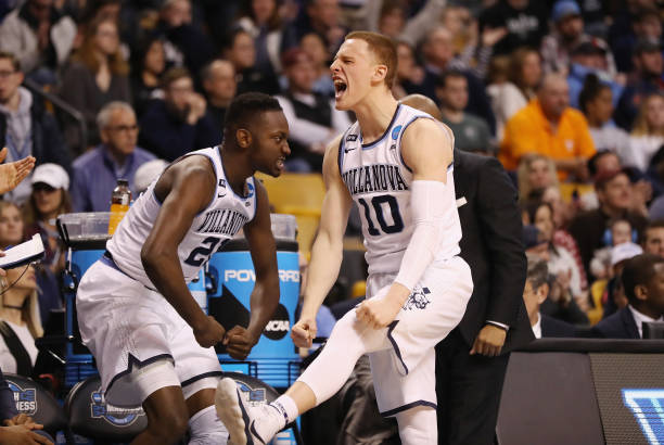 Donte DiVincenzo of the Villanova Wildcats reacts during the second half against the Texas Tech Red Raiders in the 2018 NCAA Men's Basketball...