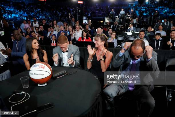 Donte DiVincenzo reacts after being selected seventeenth by the Milwaukee Bucks on June 21 2018 at Barclays Center during the 2018 NBA Draft in...