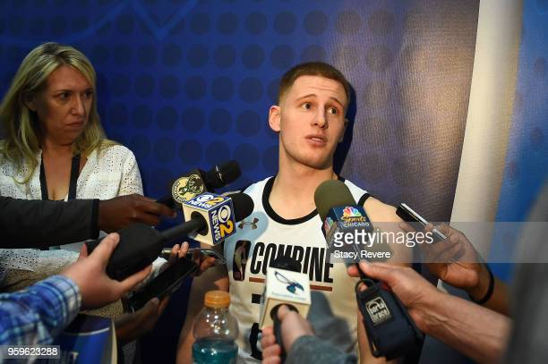 Donte DiVincenzo speaks with reporters during Day One of the NBA Draft Combine at Quest MultiSport Complex on May 17 2018 in Chicago Illinois NOTE TO...
