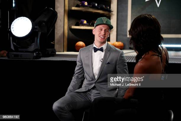Donte DiVincenzo talks to the media after being selected seventeenth by the Milwaukee Bucks on June 21 2018 at Barclays Center during the 2018 NBA...