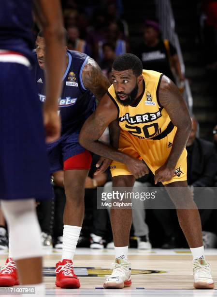 Donte Greene of Killer 3s defends during the BIG3 Championship game against the Triplets at Staples Center on September 01, 2019 in Los Angeles,...