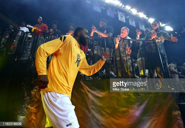 Donte Greene of Killer 3s is introduced before the game against Trilogy during week four of the BIG3 three-on-three basketball league at Barclays...