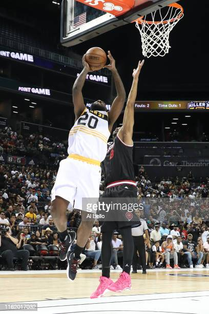 Donte Greene of Killer 3s shoots against Trilogy during week four of the BIG3 three-on-three basketball league at Barclays Center on July 14, 2019 in...