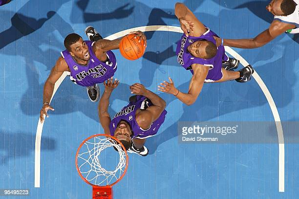 Donte Greene of the Sacramento Kings grabs the rebound during the game against the Minnesota Timberwolves on December 18 2009 at the Target Center in...