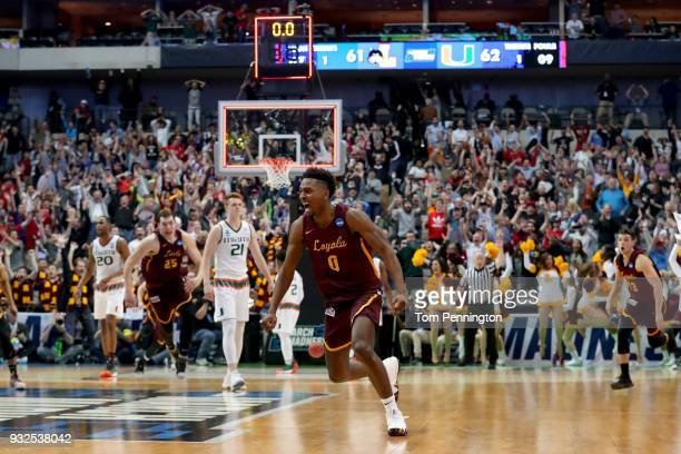 Donte Ingram of the Loyola Ramblers celebrates after his game-winning three pointer against the Miami Hurricanes in the first round of the 2018 NCAA...