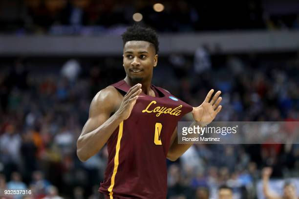 Donte Ingram of the Loyola Ramblers celebrates after Ingram's gamewinning three pointer against the Miami Hurricanes in the first round of the 2018...
