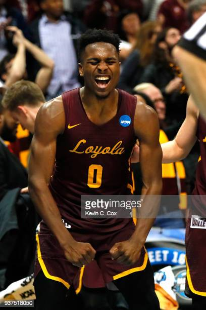 Donte Ingram of the Loyola Ramblers celebrates late in the game against the Kansas State Wildcats during the 2018 NCAA Men's Basketball Tournament...