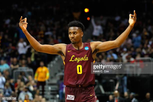 Donte Ingram of the Loyola Ramblers reacts after a play in the second half against the Kansas State Wildcats during the 2018 NCAA Men's Basketball...