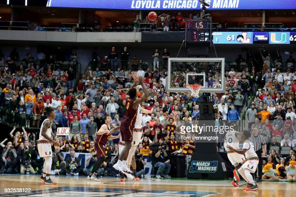 Donte Ingram of the Loyola Ramblers shoots the gamewinning three pointer against the Miami Hurricanes in the first round of the 2018 NCAA Men's...
