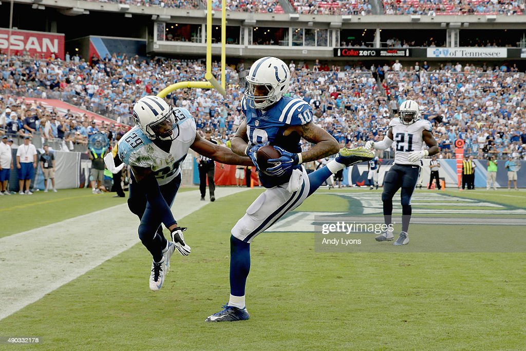Donte Moncrief #10 of the Indianapolis Colts catches a touchdown pass during the game against the Tennessee Titans at LP Field on September 27, 2015 in Nashville, Tennessee.