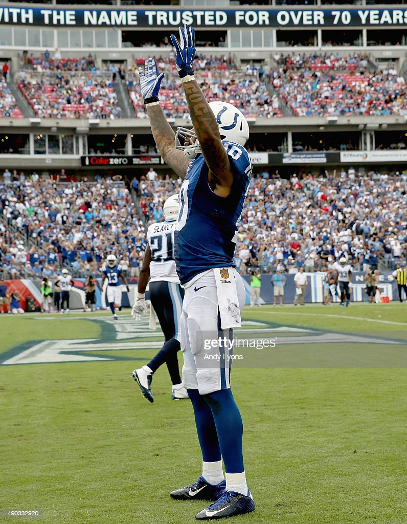 Donte Moncrief #10 of the Indianapolis Colts celebrates after catching a touchdown pass during the game against the Tennessee Titans at LP Field on September 27, 2015 in Nashville, Tennessee.