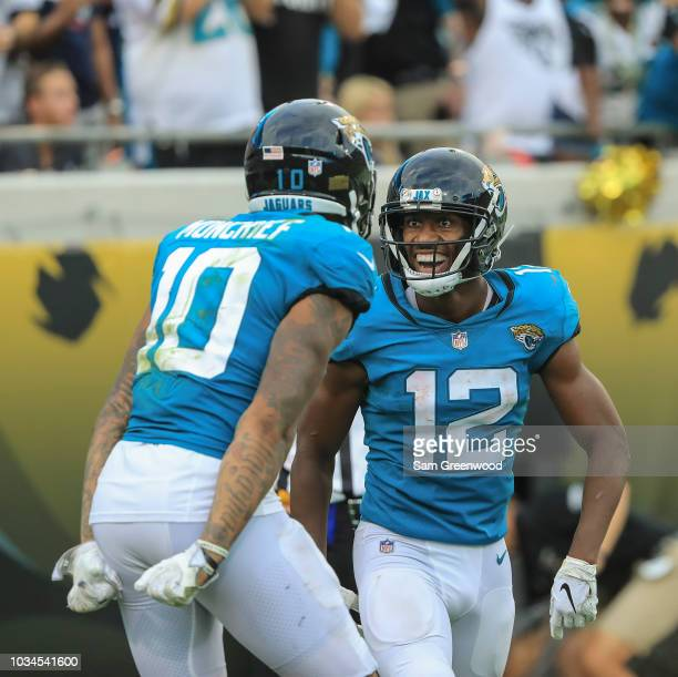 Donte Moncrief of the Jacksonville Jaguars and Dede Westbrook of the Jacksonville Jaguars celebrate Moncrief's touchdown during the second half...