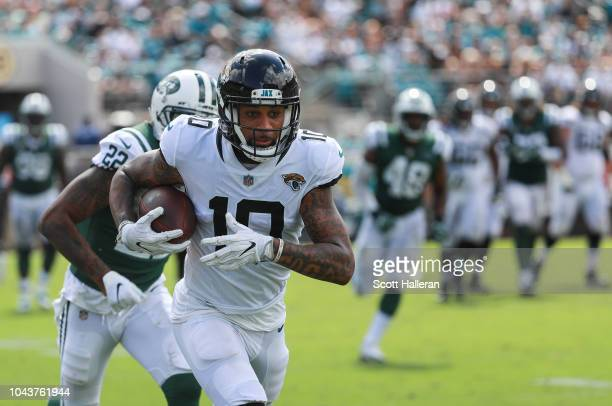 Donte Moncrief of the Jacksonville Jaguars catches a 67 touchdown reception during the second half against the New York Jets at TIAA Bank Field on...