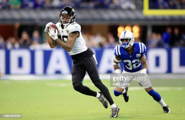 Donte Moncrief of the Jacksonville Jaguars catches a pass against Indianapolis Colts in the fourth quarter at Lucas Oil Stadium on November 11, 2018...