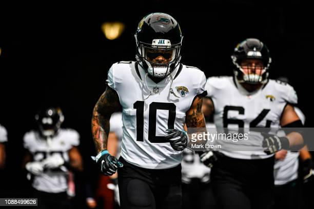 Donte Moncrief of the Jacksonville Jaguars in action against the Miami Dolphins at Hard Rock Stadium on December 23, 2018 in Miami, Florida.