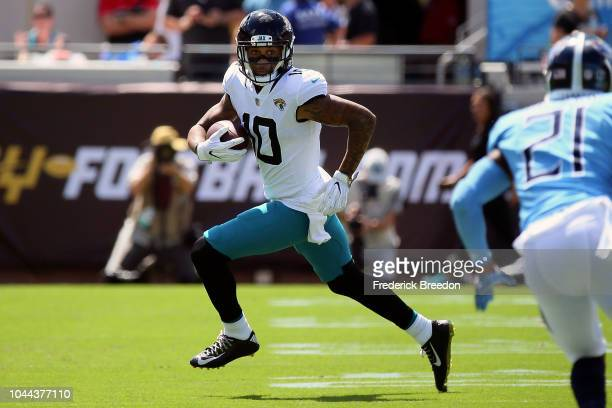 Donte Moncrief of the Jacksonville Jaguars plays against the Tennessee Titans at TIAA Bank Field on September 23, 2018 in Jacksonville, Florida.