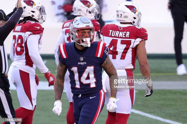 Donte Moncrief of the New England Patriots celebrates a return against the Arizona Cardinals during the first half of the game at Gillette Stadium on...