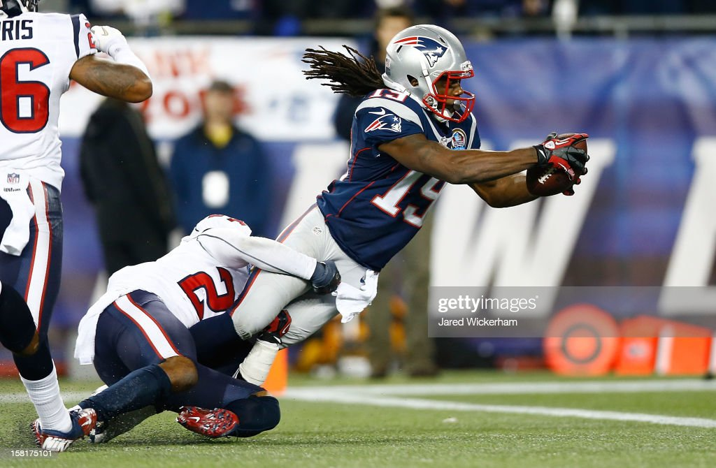 Donte' Stallworth #19 of the New England Patriots dives across the goal line to score a touchdown in the third quarter against the Houston Texans during the game at Gillette Stadium on December 10, 2012 in Foxboro, Massachusetts.