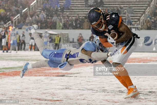 Donteea Dye Jr. #11 of Orlando Apollos scores a touchdown against the Salt Lake Stallions during their Alliance of American Football game at Rice...