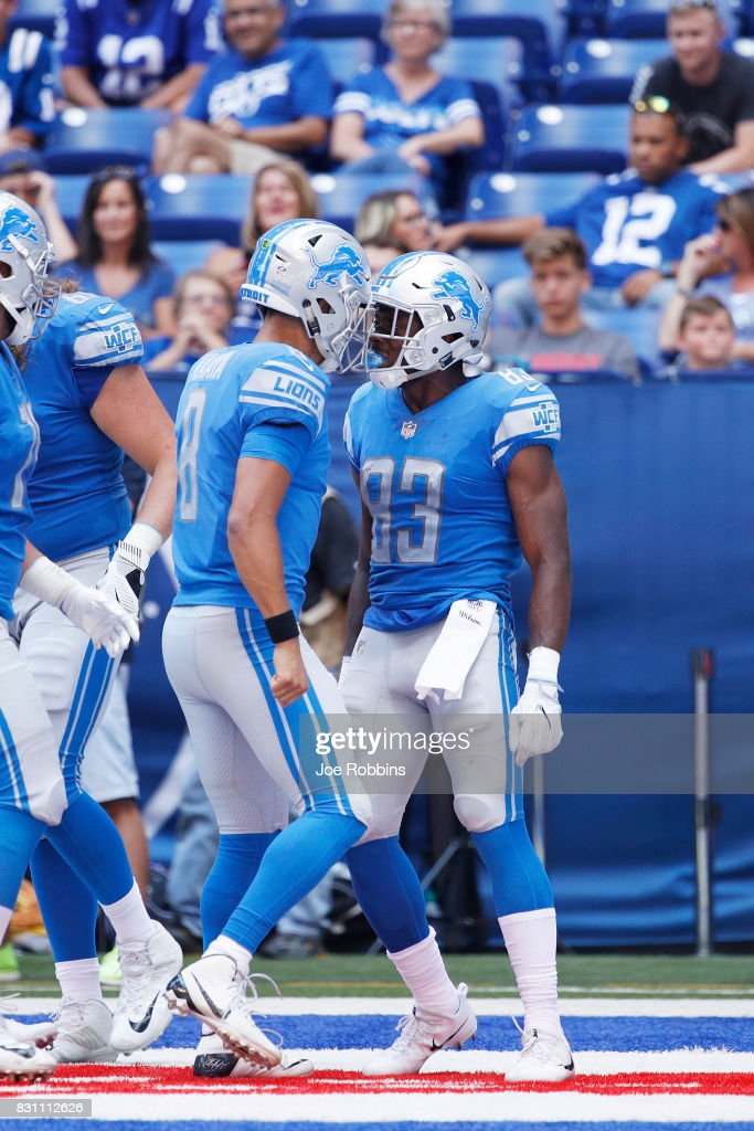 Dontez Ford #83 and Brad Kaaya #8 of the Detroit Lions celebrate after connecting on a 15-yard touchdown against the Indianapolis Colts in the second half of a preseason game at Lucas Oil Stadium on August 13, 2017 in Indianapolis, Indiana.
